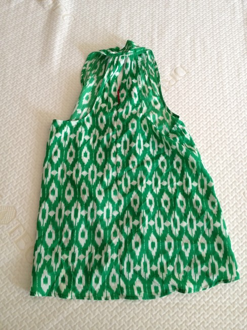 Collective Concepts Silk Silk Top Green and White