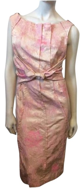 Item - Pink Brocade Mid-length Short Casual Dress Size 6 (S)