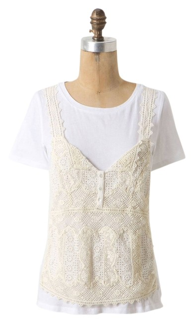 Item - White Beige Virginia Vanessa Lace Accent Tee Shirt Size 6 (S)