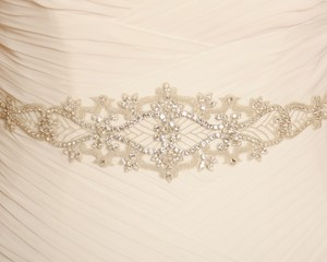 Clear Silver Crystal and Off-white Organza Belt (Never Worn) Sash