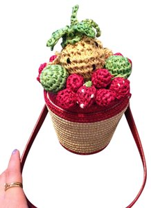 Lulu Guinness Fruit Basket Straw Wristlet