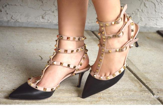 Item - Black Rockstud Pointed Toe Strappy Heels 37.5 Formal Shoes Size US 7.5