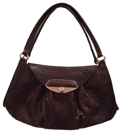 Furla Ostrich Embossed Leather Shoulder Bag