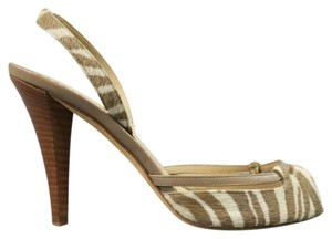 Oscar de la Renta Tiger Animal Print Pony Hair Taupe Cream Beige Pumps