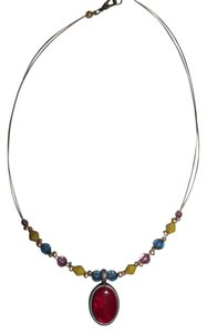 Red Pendant w/ Gold, Blue, Pink Beads