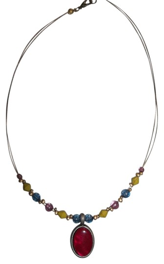 Other Red Pendant w/ Gold, Blue, Pink Beads