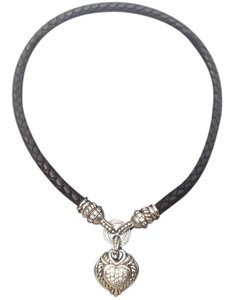 Judith Ripka JUDITH RIPKA BRAIDED LEATHER HEART NECKLACE WITH DIAMONDS