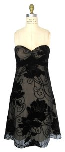White House | Black Market Strapless Sweetheart Burnout Velvet Floral Party Dress