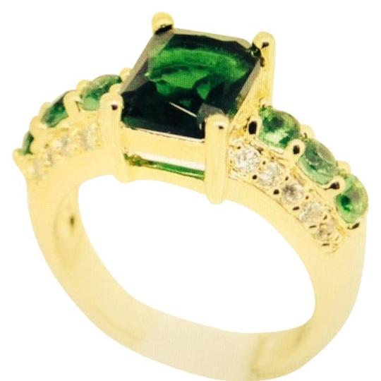 Handmade Green Tourmaline Yellow Gold Filled Ring Sz 8