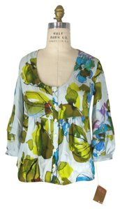 Ali Ro Floral Silk Print Top multi