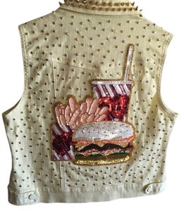 Mystic Mayhem Sequins Punk Studded Denim Burgers Fast Food Novelty Punk Vest