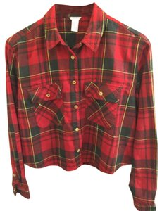Forever 21 Button Down Shirt Red