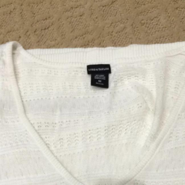Lord & Taylor Short Sleeve Neutral Sweater