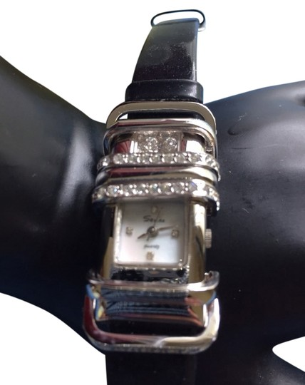 savina Austrian Rhinestones On Black Patent Leather Watch