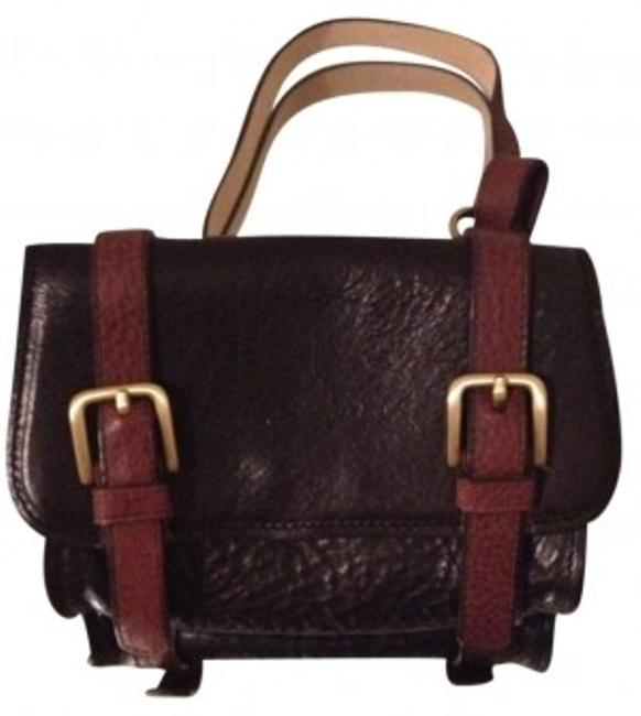 Item - Satchel Brown and Black Leather Cross Body Bag
