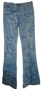 Arden B Grafitti Denim Flare Leg Jeans-Light Wash