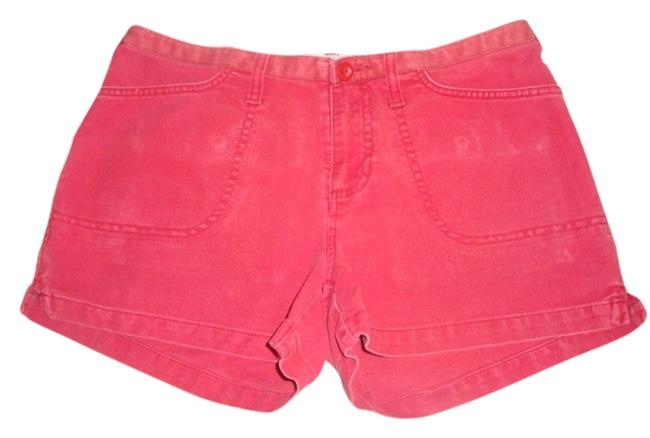 Abercrombie & Fitch Distressed Khaki Vintage Wash Cargo Shorts red