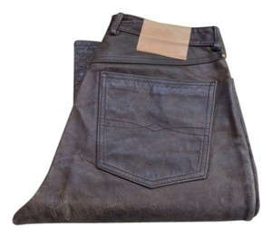 Lucky Brand Leather Distressed Casual Straight Leg Jeans-Distressed