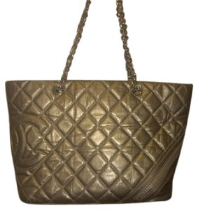 Chanel Cambon Quilted Leather Grand Shopper Grand Shopping Tote in metallic deep gold