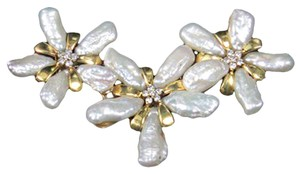 Modernist Free-form Pearl Petals Diamond Pendant/Enhancer