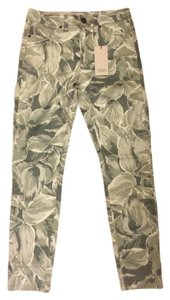 Objects Without Meaning Plant Denim Stretchy Skinny Pants Hosta Print Greys