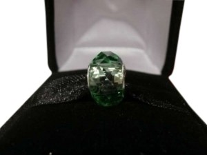 Uncommon DOUBLE FACETED Peridot Green Crystal Bead - More Light Bouncing Off - STERLING - Fits Euopean Bracelets and Necklaces