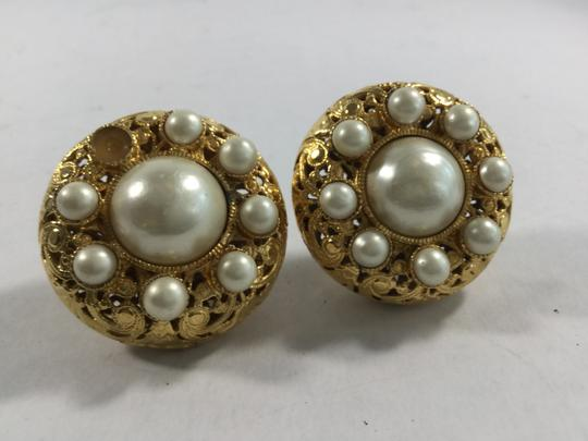 Chanel Gold and Faux Pearl Jumbo Clip On Earrings