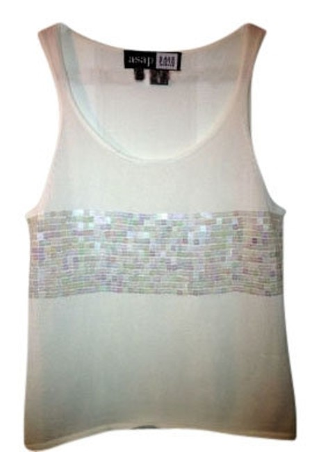 Preload https://item2.tradesy.com/images/saks-fifth-avenue-cream-with-sequins-iridescent-tank-topcami-size-8-m-12761-0-0.jpg?width=400&height=650
