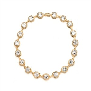 Glamorous Cushion Cut Crystal Gold Necklace