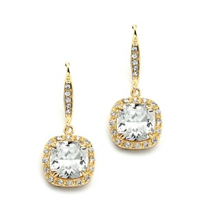 Cushion Cut Gold Crystal Bridal Earrings
