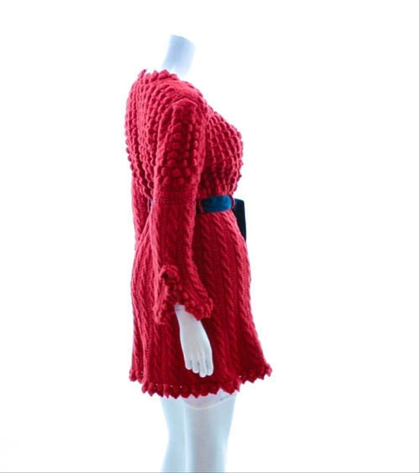 Oscar de la Renta Red Sweater Features Popcorn and Cable Knit ...
