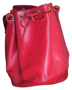 Louis Vuitton Leather Bucket Satchel in red