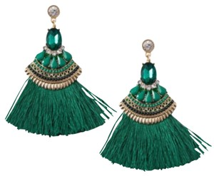 T&J Designs Emerald Green Tassel Earrings