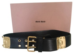 Miu Miu Miu Miu Black Leather Belt With Light Gold Hardware