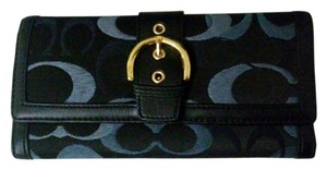 Coach Leather Wallet Wallet Navy Clutch