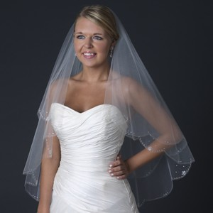 Elegance By Carbonneau Two Layer Beaded Fingertip Length Wedding Veil With Flower Crystals