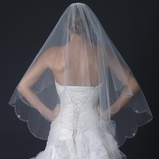 Elegance By Carbonneau White Two Layer Beaded Crystal Fingertip Wedding Veil