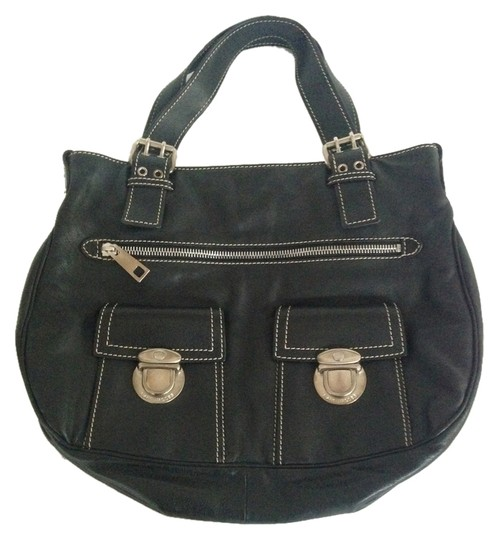 Marc Jacobs Calfskin Leather Silver Hardware Tote in Black