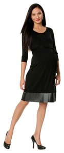Motherhood Maternity Black Dress with Faux Leather Trim