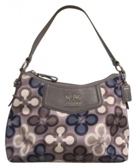 Preload https://item1.tradesy.com/images/coach-grey-white-and-blue-satin-leather-shoulder-bag-127735-0-0.jpg?width=440&height=440