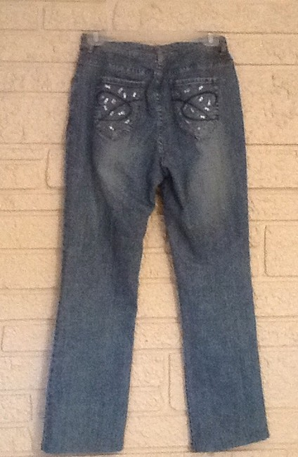 Chico's Studded Rhinestone Relaxed Fit Jeans-Light Wash