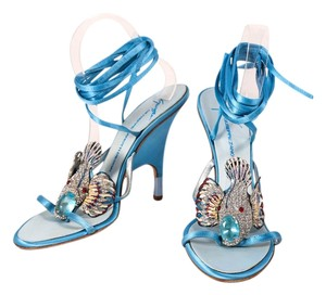 Giuseppe Zanotti Coyfish Leather Crystal Blue Sandals