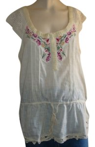 Free People Boho Drawstring Cotton Lace Tunic Large Top
