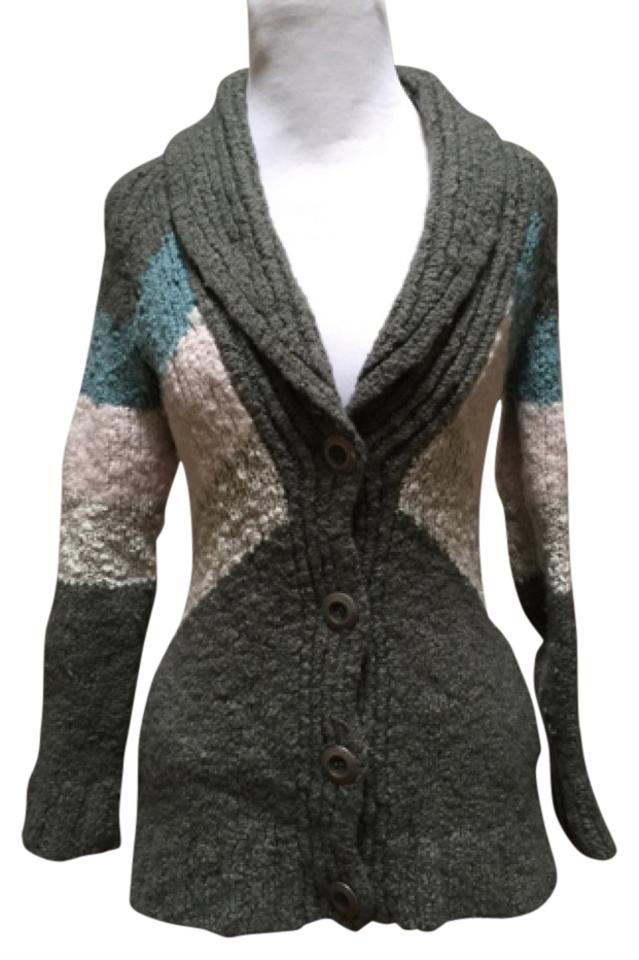756fcb1cd1 Free People Olive Green with Light Blue and Pink Chevron Stripe Cardigan