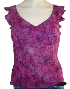Express Roses Ruffle Top wine and pink