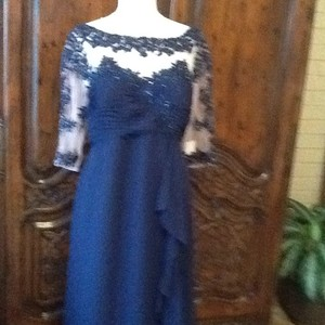 Alfred Angelo Navy Crepe Formal Bridesmaid/Mob Dress Size 18 (XL, Plus 0x)