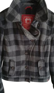 Esprit Wool Double Breasted Black and Grey Plaid Jacket