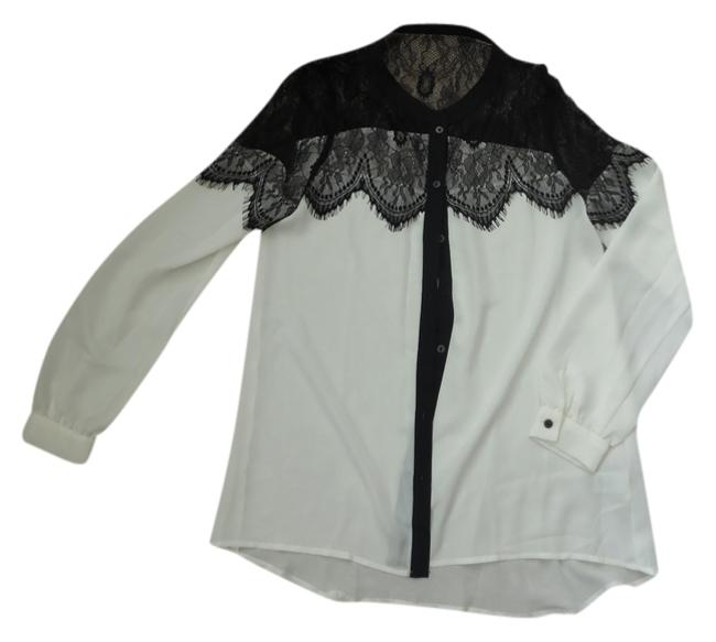 LC Lauren Conrad Top White with Black Lace