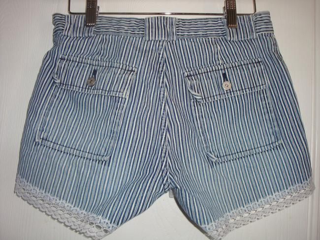 hipster Railroad Stripe Lace Trim Indie Low Rise Lacey Denim Shorts-Distressed