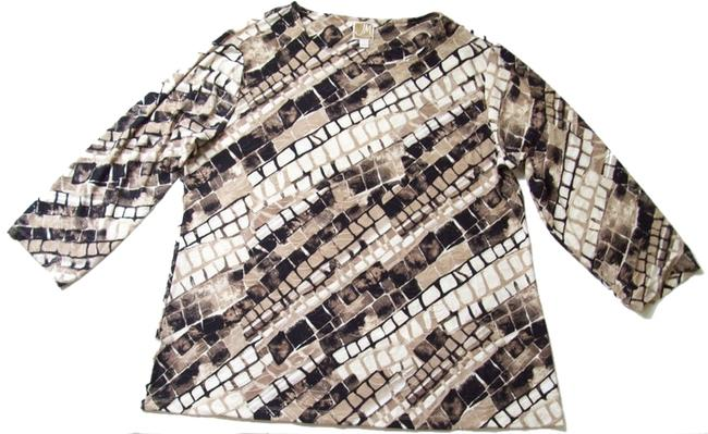 JM Collection Unlined 3/4 Sleeves Snake Print T Shirt Brown